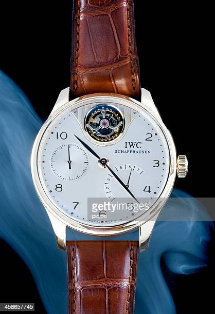 iwc portuguese tourbillon mystere limited edition wristwatch for men - reptile leather stock pictures, royalty-free photos & images