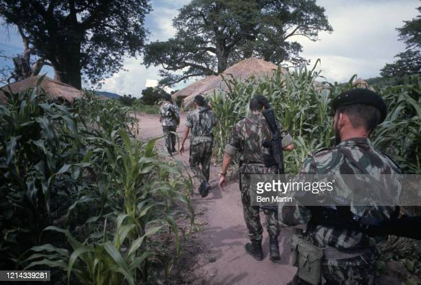Portuguese troops enter last village in Congo before Angolan frontier, February 1967.