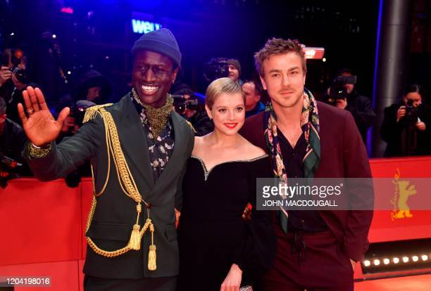 PortugueseGuinean actor Welket Bungue German actress Jella Haase German actor Albrecht Schuch pose on the red carpet ahead of the awarding ceremony...