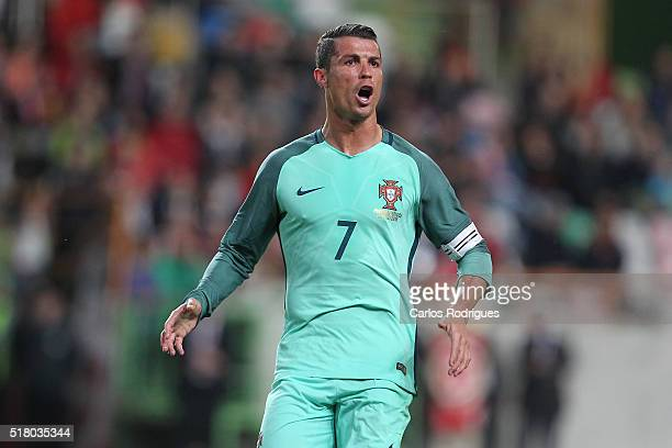 Portuguese's forward Cristiano Ronaldo celebrates scoring Portugal's second goal during the match between Portugal and BelgiumFriendly International...