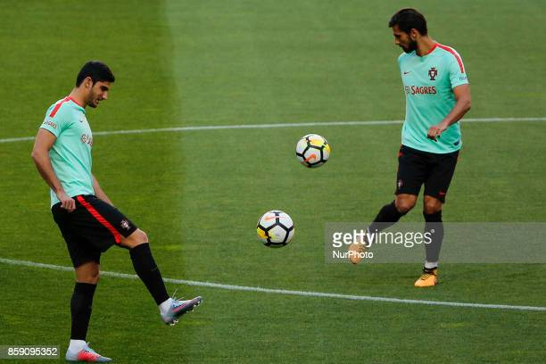 Portugueses forward Goncalo Guedes and midfielder Andre Gomes during National Team Training session before the match between Portugal and Switzerland...
