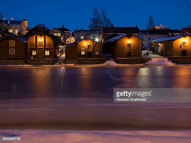 Porvoo at night.Wooden houses along the river Porvoonjoki, Porvoo, Finland.