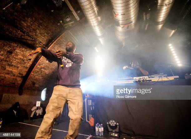 Posdnuos and Maseo of De La Soul perform on stage at The Arches on May 3, 2014 in Glasgow, United Kingdom.