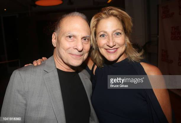 pose at the opening night after party for The New Group Theater production of The Trueat Yotel's Green Fig Urban Eatery on September 20 2018 in New...