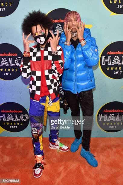 AYO TEO pose backstage at the 2017 Nickelodeon HALO Awards at Pier 36 on November 4 2017 in New York City