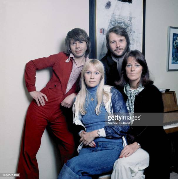 Pose for a group portrait in Stockholm, April 1976. Benny Andersson, Agnetha Faltskog, Bjorn Ulvaeus, Anni-Frid Lyngstad.