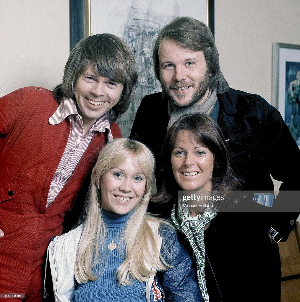 ABBA pose for a group portrait in Stockholm, April 1976. (L-R) Benny Andersson, Agnetha Faltskog, Anni-Frid Lyngstad, Bjorn Ulvaeus.