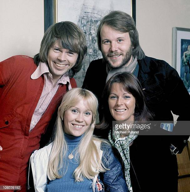 Pose for a group portrait in Stockholm, April 1976. Benny Andersson, Agnetha Faltskog, Anni-Frid Lyngstad, Bjorn Ulvaeus.