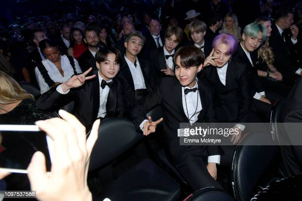 BTS pose for a photo during the 61st Annual GRAMMY Awards at Staples Center on February 10 2019 in Los Angeles California