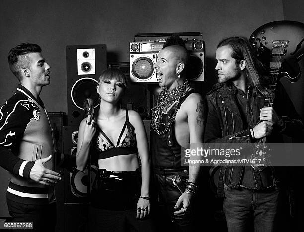 Joe Jonas JinJoo Lee Cole Whittle and Jack Lawless pose for a portrait at the 2016 MTV Video Music Awards at Madison Square Garden on August 28 2016...
