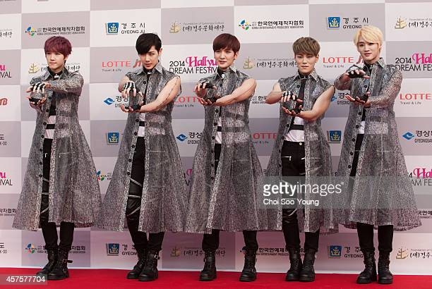 KUS pose for photographs during the 2014 Hallyu Dream Concert at Gyeongju Citizen Stadium on September 28 2014 in Seoul South Korea