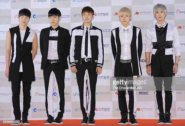 100% pose for photographs during the 2014 Incheon Kpop Concert at International Business District on September 17 2014 in Incheon South Korea