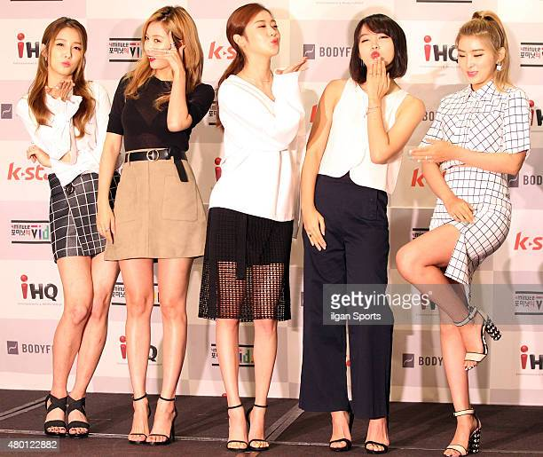 4MINUTE pose for photographs during the K Star 'Video of 4MINUTE' press conference at Ritz Carlton on July 6 2015 in Seoul South Korea