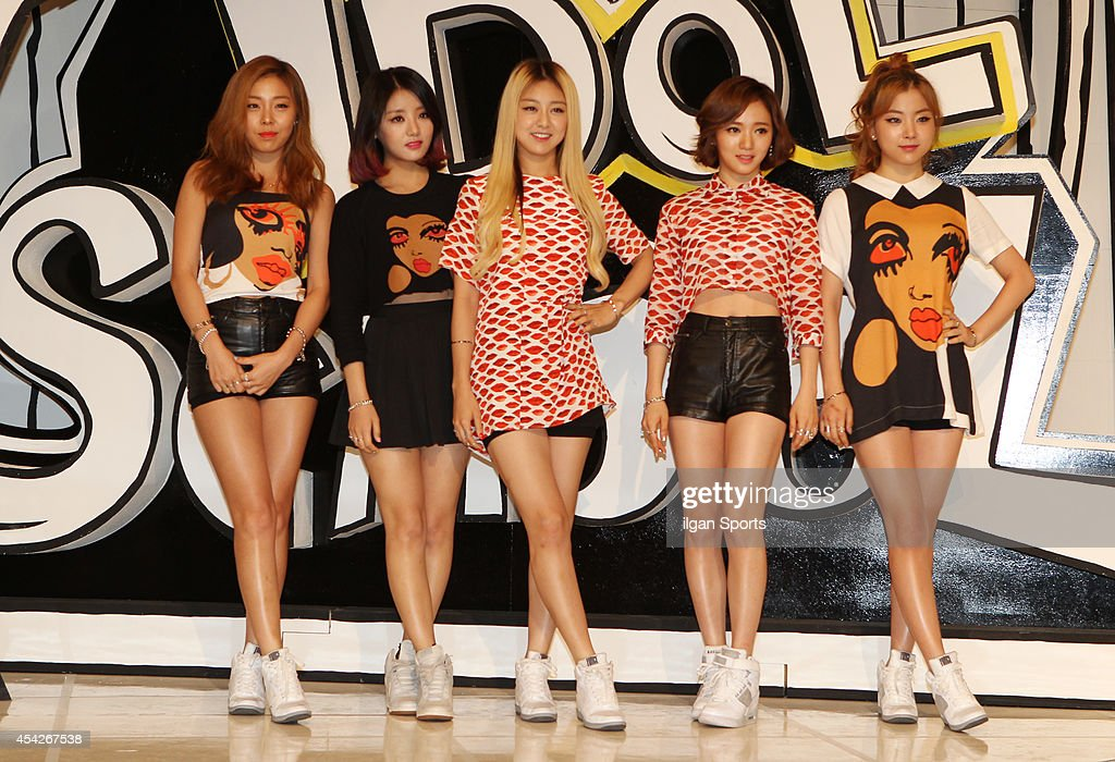 LADIES' CODE pose for photographs during the MBC Music 'Idol School' press conference at Digital Magic Space on August 26, 2014 in Seoul, South Korea.