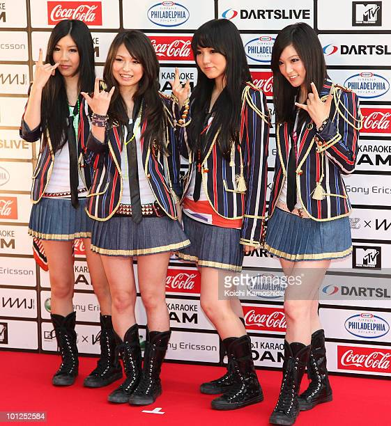 Pose on the red carpet during the MTV World Stage VMAJ 2010 at Yoyogi National Gymnasium on May 29, 2010 in Tokyo, Japan.