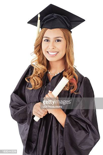 Posed Female Graduate With Diploma, Isolated on White