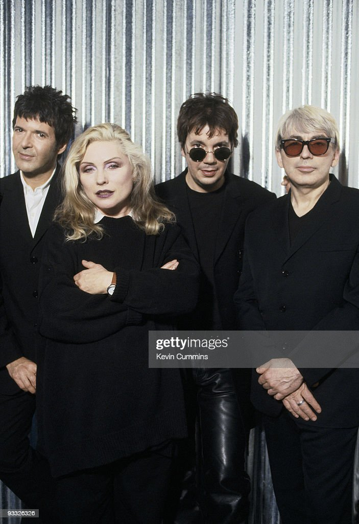Posed group portrait of American band Blondie circa 1997. Left to right are drummer Clem Burke, singer Debbie Harry, keyboard player Jimmy Destri and guitarist Chris Stein.