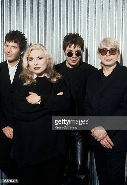 Posed group portrait of American band Blondie circa 1997 Left to right are drummer Clem Burke singer Debbie Harry keyboard player Jimmy Destri and...