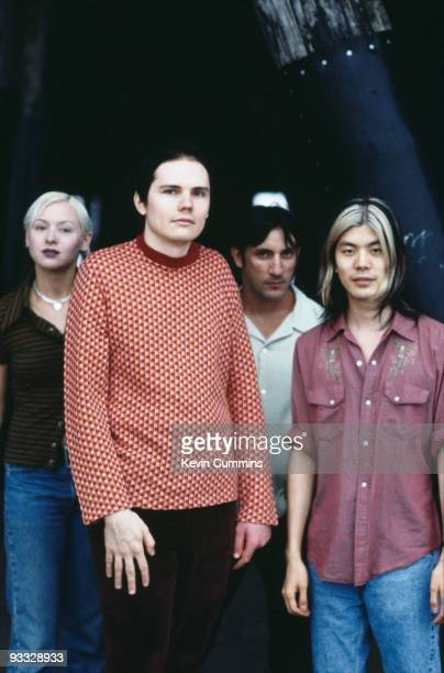 Posed group portrait of American rock band the Smashing Pumpkins in Los Angeles in August 1995 Left to right are bassist D'Arcy Wretzky singer Billy...