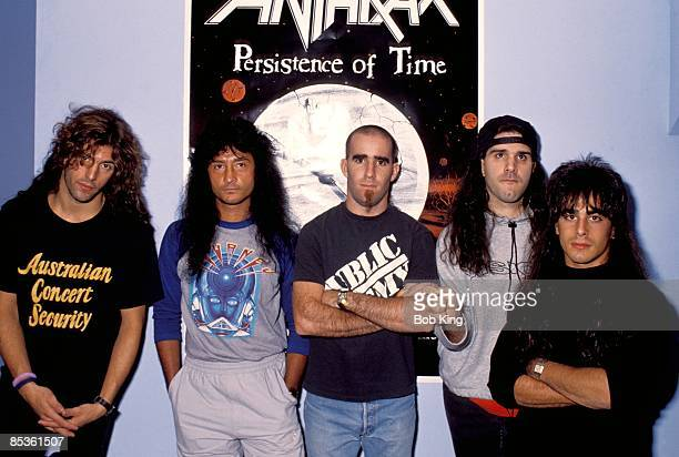 Posed group portrait of American thrash metal band Anthrax in Sydney Australia circa 1990 LR Frank Bello Joey Belladonna Scott Ian Charlie Benante...