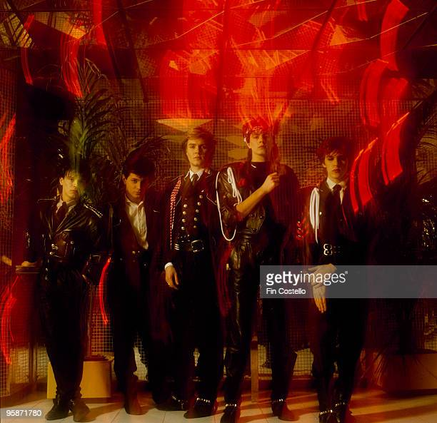 Posed group portrait of British band Duran Duran Left to right are Andy Taylor Roger Taylor Simon Le Bon John Taylor and Nick Rhodes in 1983