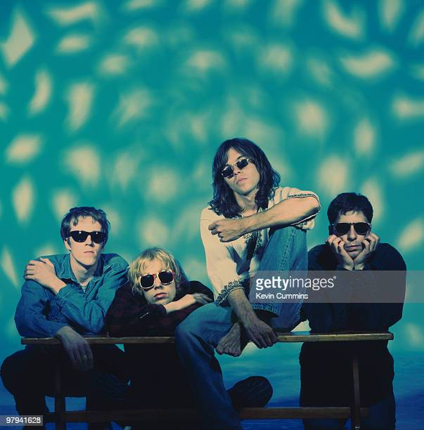 Posed group portrait of British band Ride Left to right are Laurence Colbert Andy Bell Mark Gardener and Steve Queralt circa 1993