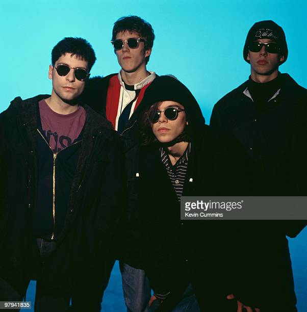 Posed group portrait of British band Ride Left to right are Steve Queralt Laurence Colbert Mark Gardener and Andy Bell circa 1990