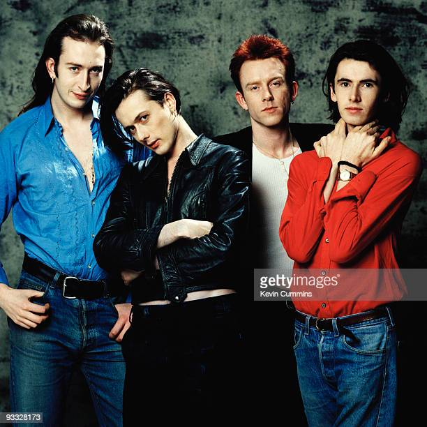Posed group portrait of British band Suede in March 1993 Left to right are bassist Mat Osman singer Brett Anderson drummer Simon Gilbert and...