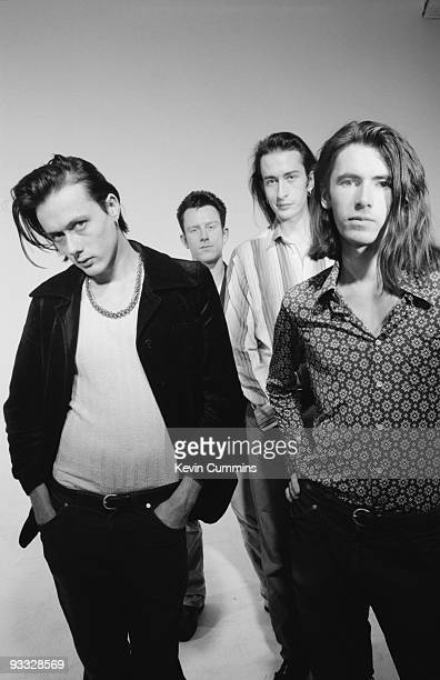 Posed group portrait of British band Suede in October 1992 Left to right are singer Brett Anderson drummer Simon Gilbert bassist Mat Osman and...