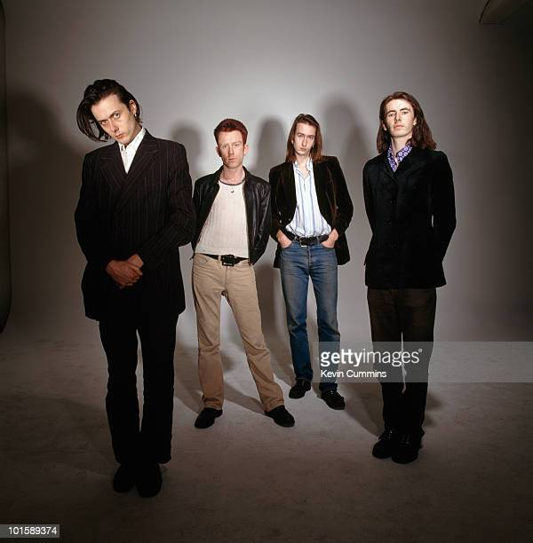 Posed group portrait of British band Suede Left to right are singer Brett Anderson drummer Simon Gilbert bassist Mat Osman and guitarist Bernard...