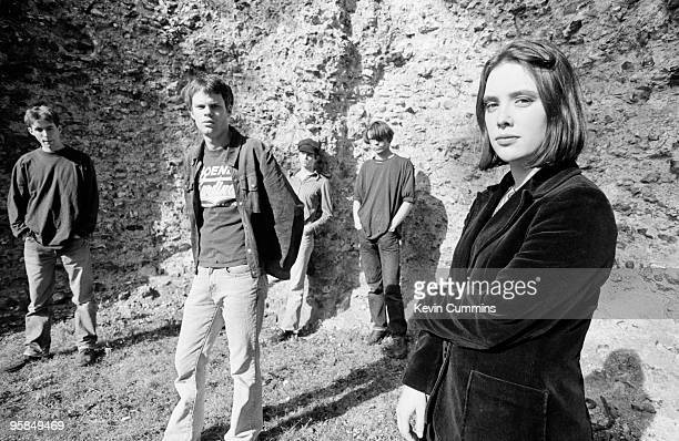 Posed group portrait of British indie band Slowdive with Neil Halstead Nick Chaplin and Rachel Goswell in 1992