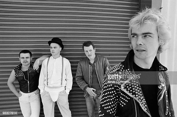 Posed group portrait of British punk band The Blitz in December 1981 Left to right are Alan 'Nidge' Miller Carl Fisher Charlie Howe and Neil McLennan