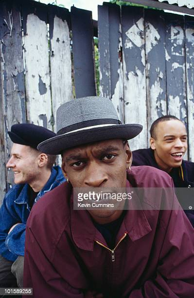 Posed group portrait of British trip hop group Massive Attack Left to right are Robert '3D' Del Naja Grant 'Daddy G' Marshall and Andrew 'Mushroom'...