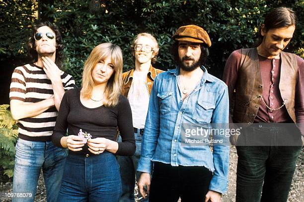 Posed group portrait of Fleetwood Mac in September 1973 Left to right are Bob Weston Christine McVie Bob Welch John McVie and Mick Fleetwood