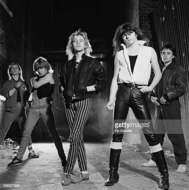 Posed group portrait of Girl taken in Rotherhithe South East London in November 1981 LR Simon Laffey Phil Collen Gerry Laffy Philip Lewis and Pete...