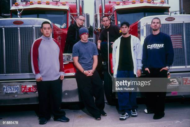 Posed group portrait of Linkin Park Left to right are Joe Hahn Chester Bennington David 'Phoenix' Farrell Mike Shinoda Rob Bourdon and Brad Delson in...