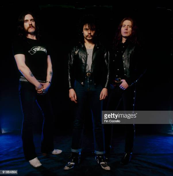 Posed group portrait of Motorhead Left to right are Lemmy Phil Taylor and Eddie Clarke in December 1980