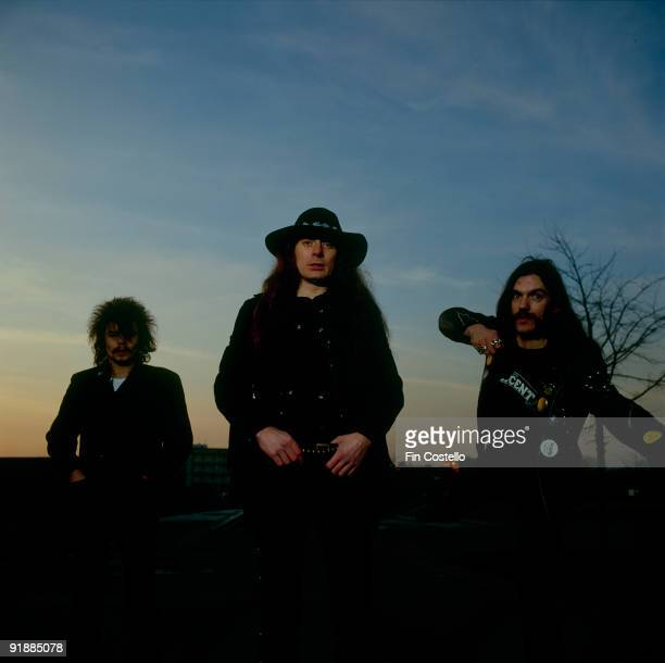 Posed group portrait of Motorhead Left to right are Phil Taylor Eddie Clarke and Lemmy in December 1980