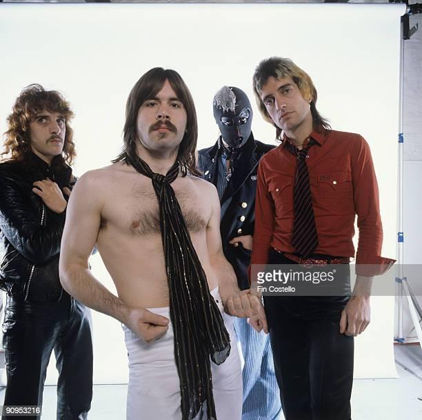Posed group portrait of Samson Left to right are Paul Samson Bruce Dickinson Thunderstick and Chris Aylmer in February 1980