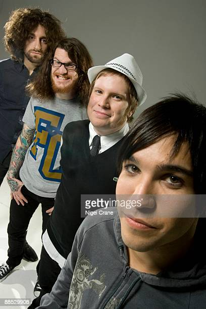 Posed group portrait of the band Fall Out Boy Left to right are Joe Trohman Andy Hurley Patrick Stump and Pete Wentz in Los Angeles CA on August 10...