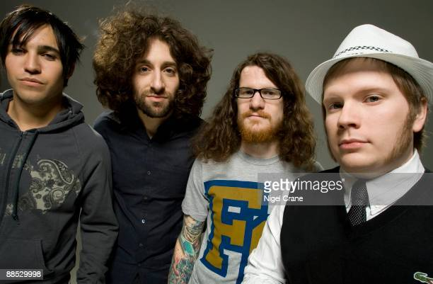 Posed group portrait of the band Fall Out Boy Left to right are Pete Wentz Joe Trohman Andy Hurley and Patrick Stump in Los Angeles CA on August 10...