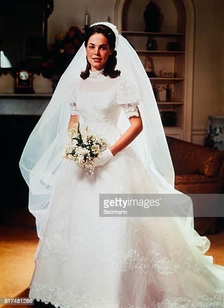 Posed photo of Julie Nixon daughter of Presidentelect Richard Nixon in her wedding gown Miss Nixon was wed to David Eisenhower December 22nd at...