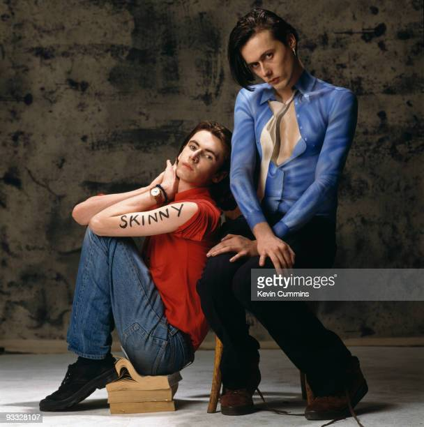 Posed portrait guitarist Bernard Butler and singer Brett Anderson of British band Suede in March 1993