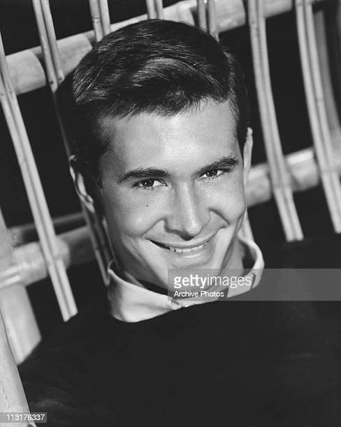 Posed portrait of American actor Anthony Perkins in the 1950's