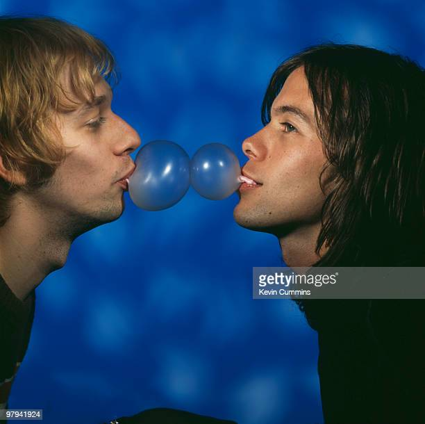 Posed portrait of Andy Bell and Mark Gardener of British band Ride circa 1993