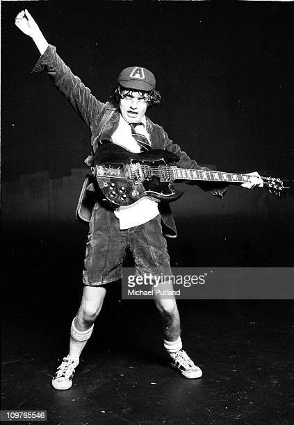 Posed portrait of Australian guitarist Angus Young of AC/DC in London England on April 06 1976
