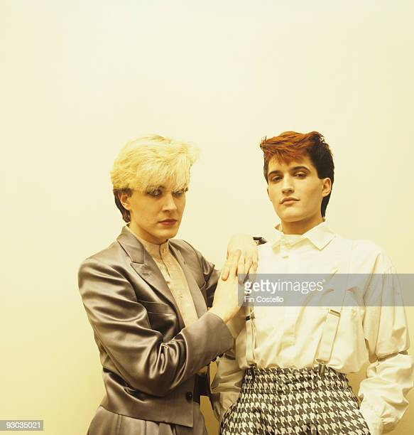 Posed portrait of David Sylvian and Steve Jansen of Japan in London England in 1982