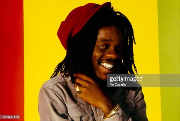 Posed portrait of Jamaican singer Dennis Brown in Camden London in April 1980