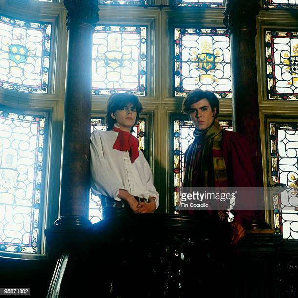 Posed portrait of John Taylor and Simon Le Bon of British band Duran Duran in 1981