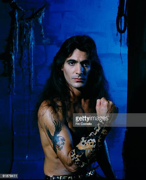 Posed portrait of Manowar bass player Joey DeMaio in October 1984